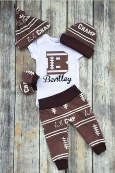Football Personalized Boys Coming Home Outfit, Baby Boy Outfit, Brown Take Home Newborn Outfit, Retro Baby Boy Layette and Hat Set by DarlinDivasandDudes on Etsy Newborn Boy Clothes, Newborn Outfits, Baby Boy Newborn, Baby Boy Outfits, Carters Baby, Baby Baby, Welcome Baby Boys, New Baby Boys, Toddler Girls