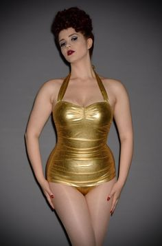ad51f7578bd Knock 'em dead in this classic 50's gold swimsuit by Esther Williams at  Deadly is