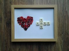 """Hand Crafted 10"""" x 8"""" Scrabble Art Button Picture Love You"""