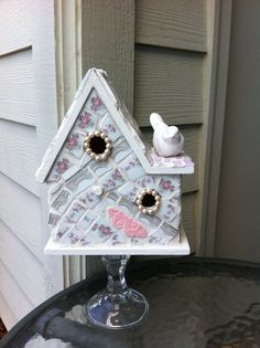 Mosaic Shabby Cottage Birdhouse with pearls on glass stand. Love it!