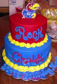 KU Jayhawks cake for a 12th birthday Custom topper Created by