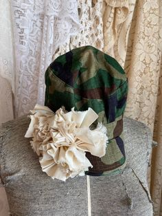 Excited to share this item from my #etsy shop: Shabby chic clothing, shabby chic hats, camouflage hats, camo hat, upcycled hat, gypsy hat, women's hats Camo Hats, Chic Clothing, Chic Outfits, Camouflage, Gypsy, Upcycle, Shabby Chic, Etsy Shop, Handmade