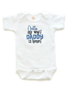 Outta My Way Baby Boys Bodysuit - Daddy Deployed Shower Gift Wholesale | All That Sass Boutique  http://www.allthatsassboutique.com/collections/boys-clothing/products/outta-my-way-blue