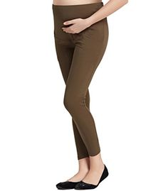 ffb5dc3277aa9 Liang Rou Maternity Belly Support Ribbed Thin Stretch Full Length Leggings  Olive Green -- Check