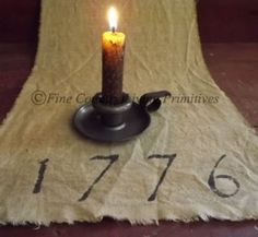 1776 Handcrafted Early Stained Runner, great Americana decor for July 4th holiday $14 www.FineCountryLivingPrimitives.com