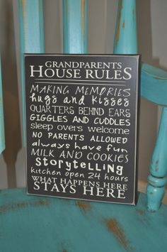 Custom Made Grandparents House Rules Wood Sign