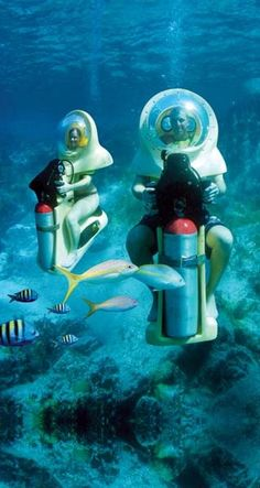 The BOB (Breathing Observation Bubble) are scooters in St John, Virgin Islands. A diver stays with you as you tour 17 ft under water.