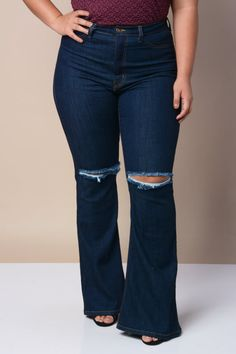 Plus Size High Waist Bell Bottom Denim Jeans http://therusticrack ...