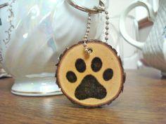 Handmade Wood Slice Keychain Rustic Wooden Paw by SweetHomeWoods, $10.00
