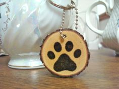 Handmade Wood Slice Keychain Rustic Wooden Paw by SweetHomeWoods, $10.00