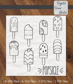 8 Popsicle SVG Bundle - Mixed Hand Drawn Frozen Treat Clip Art - Ice Cream Vector - Digital Freeze p Bullet Journal Month, Bullet Journal Notebook, Bullet Journal Ideas Pages, Bullet Journal Inspiration, Outline Drawings, Doodle Drawings, Doodle Art, Easy Drawings, Ice Cream Outline
