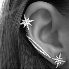 Punk Womens Crystal Star Ear Needle Wrap Pin Sweep Up Ear Cuffs Climber Earrings Cuff Jewelry, Cuff Earrings, Pearl Stud Earrings, Star Earrings, Rhinestone Earrings, Clip On Earrings, Body Jewelry, Jewelry Gifts, Silver Jewelry