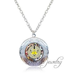1pc Antique Silver Locket Pendant Necklace Gravity Falls Bill Cipher Wheel Necklace Pendant Homestuck Jewelry for Women Men -- Continue to the product at the image link.