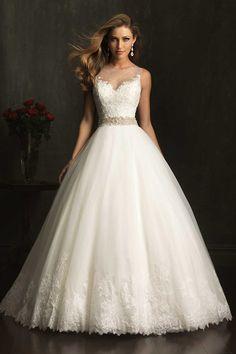 2014 Wedding Dress Bateau Lace Bodice Beaded Waistline Pisk Up Tulle Skirt #Wedding #Dress #Bateau