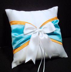 Pool Blue & Tangerine Orange  White or Ivory  Wedding Ring Bearer Pillow  by Jessicasdaydream, $19.00