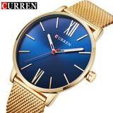 Quartz Watch Men's Gold Casual  Stainless Steel Mesh band Quartz-Watch  Thin
