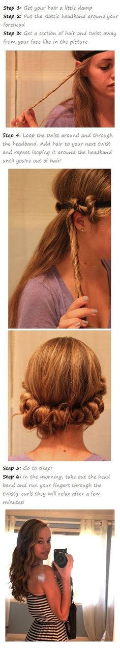 *i used this and it ACTUALLY WORKED! I'm amazed it stayed in place all night, and the girls are messy and big and I love it* Cute and easy curls(trick is called the friar tuck)