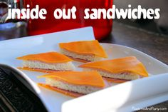 Backwards sandwiches or inside out sandwiches feature a slice of bread in the center with a cheese slice on each side. (Don't use processed cheese - doesn't work.)
