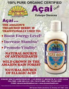 Acai Gold 100% Pure Organic Juice 16 Ounces by Dynamic Health. $15.68. The Aai Palm Trees flourish in the lush rainforests that are fed by the mighty Amazon River. The synergy of the nutrient rich soil and tropical climate guarantee nearly perfect conditions for these plants to thrive. The dark purple berries of the Aai plant (Euterpe Oleracea) contain up to 33 times the antioxidant content as red wine grapes. These amazing berries have traditionally been used to incre...