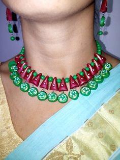 TerraClove - 3 Piece #Terracotta Designer #EcoFriendly Jewelery - Online Shopping For #Jewellery Sets #craftshopsindia #craftshopindia