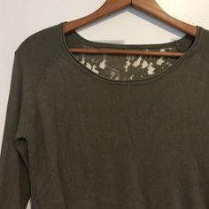 Zara Lace Back Top Super soft sage green top with lace back. Tag is cut out, but it is from Zara and fits like Medium. Sweater material is soft and stretchy, see photo for fabric content. Zara Tops
