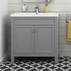 Grey Bathroom Furniture Vanity Storage Unit with Ceramic Basin Sink 800 mm Grey Bathroom Furniture, Traditional Bathroom Furniture, Grey Furniture, Bathroom Interior Design, Furniture Storage, Antique Furniture, Furniture Vanity, Bathroom Designs, Interior Paint