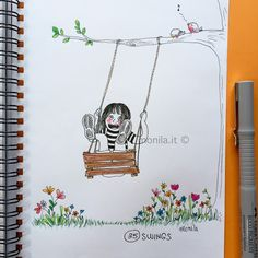 Monila handmade,illustrazione,illustration,altalena,felicità ,swings