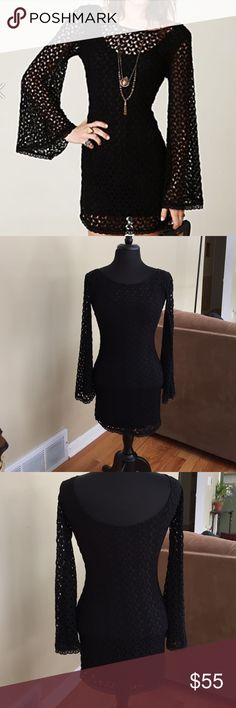Free People Gypsy Crochet Lace Dress XS Free People Gypsy Lace Dress Gorgeous bodycon dress with crochet lace overlay and wide bell sleeves.  NWOT. No Rips or Stains. XS Free People Dresses Mini