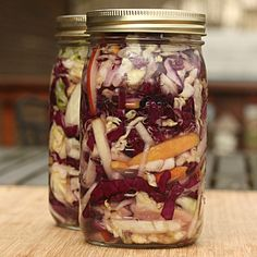 Lacto-fermented Saurkraut ~ After learning about the health benefits of homemade saurkraut, I had to try this recipe I found through Pinterest.  I started it today and now have to wait a few days for it to be ready.  Can't wait.