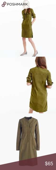 """J. Crew Army Green Cotton Utility Dress FROM J. CREW WEB SITE PRODUCT DETAILS: A vintage-workwear-inspired dress crafted in easy cotton with patch pockets is arguably the coolest (and quickest) outfit out there. Cotton/lyocell. Button closure. Straight silhouette. Falls above knee, 37 1/4"""" from high point of shoulder. Two patch pockets w/button closure at chest. Two zip close slant pockets at waist. Machine wash. J. Crew Item F4359. J. Crew Dresses"""