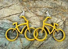 Bicycles Earrings - laser cut from Reforested Wood by GreenTreeJewelry