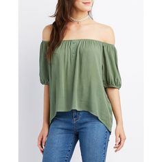 Charlotte Russe Off-The-Shoulder Button Peasant Top ($22) ❤ liked on Polyvore featuring tops, blouses, olive, button blouse, olive green blouse, short sleeve peasant blouse, army green blouse and off shoulder blouse