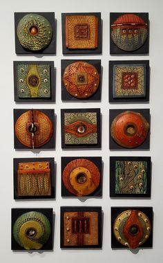 Vicki Grant Quilted Whimsies Porcelain & mixed media on slate 6 x 6 x 2 inches Clay Wall Art, Ceramic Wall Art, Ceramic Clay, Tile Art, Porcelain Ceramics, Mosaic Art, Ceramic Pottery, Pottery Art, Porcelain Tiles