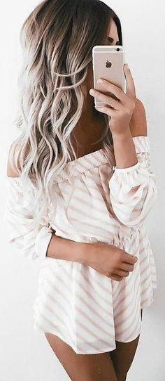 Idée et inspiration look d'été tendance 2017   Image   Description   #summer #girly #outfits | Peach Stripe Playsuit