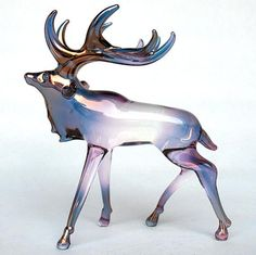Elk Figurine of Hand Blown Glass with 24K Gold by ProchaskaGallery, $75.00