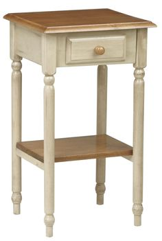 Eco WOOD Antique White & Cherry Finish Telephone Entry Accent End Display Table