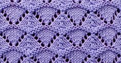 Cast on a multiple of 10 sts, + 2.  Row 1 - right side: Purl  Row 2: Knit.  Row 3: K1, * k1, yo, k3, sk2p, k3, yo; repeat from * to last s...
