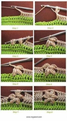 The not so easy flower stitch, made easy ♪ ♪ inspiration ♥ crochet diy GB :) Crochet Diy, Crochet Motifs, Crochet Borders, Crochet Stitches Patterns, Love Crochet, Learn To Crochet, Crochet Crafts, Crochet Flowers, Crochet Projects