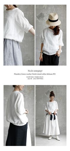 【Free Shipping】 JoiedeVivre Flanders Linen Washer Stand Color Dolman Pullover