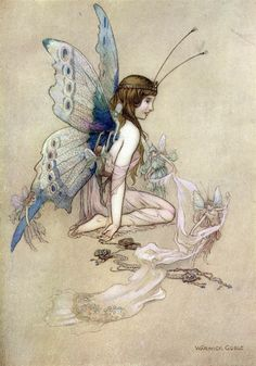 Fairy from The Water-Babies by Charles Kingsley; illustration by Warwick Goble Fairy Dust, Fairy Land, Fairy Tales, Art And Illustration, Art Illustrations, Magical Creatures, Fantasy Creatures, Warwick Goble, Kobold