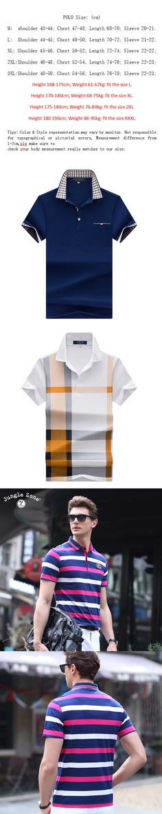 JJUNGLE ZONE Stripe hit color Men's Polo Shirt short-sleeved polo shirt Business Male polo shirt Hot PRODUCTS Polo shirts 8205