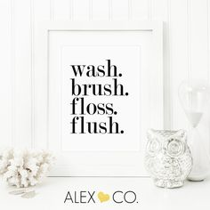 Wash Brush Floss Flush Bathroom Printable. Kids Bathroom Art. Bathroom Art Print. Bathroom Sign. Bathroom Rules Sign. Bathroom Wall Art.