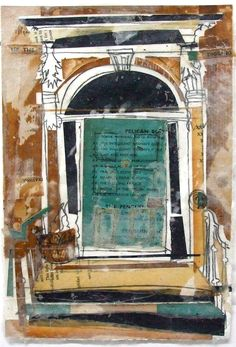 Lucy Jones, Blue Puffin Doorway, Edinburgh   Collage with charcoal and wax