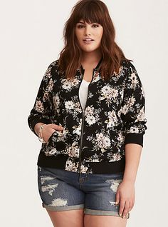Floral Print Twill Bomber JacketPlus Size Floral Print Twill Bomber Jacket, SUMMERLITE GARDEN