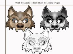 Unique 2 Wolf Printable MaskСoloring Pages costumes party