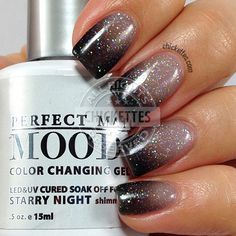 LeChat Perfect Match Mood Gel Polish - Starry Night by Alexandra Huntington Mood Changing Nail Polish, Mood Gel Polish, Gel Polish Colors, Fancy Nails, Get Nails, How To Do Nails, Pretty Nails, Perfect Match Gel Polish, Perfect Nails