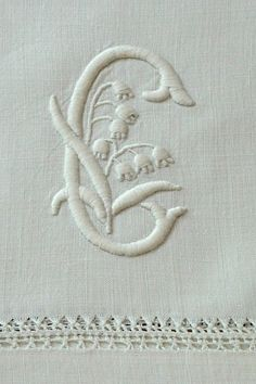 Em's Heart Antique Linens -Monogrammed Letter C with Lily of the Valley - Antique Linen Pillowcases