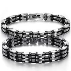 Edelstahl Silikon Armband Partnerarmband Damen Herren Armreif Armkette Schmuck