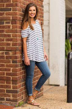 """Key Details Top, Charcoal""This simple top is exactly what every girl needs in her closet! The classic yet trendy style makes it an easy choice! #newarrival #shopthemint"