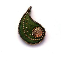 Unusual Zipper Brooch Olive Felt Leaf with Button by PinkiWorld